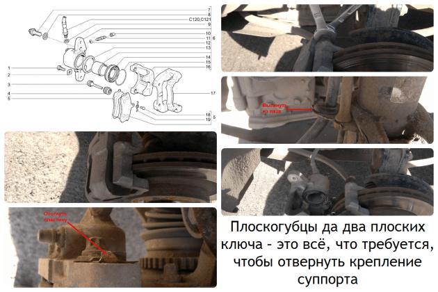 Замена передних колодок ВАЗ-2192/2194
